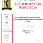 Dyplom Modernizacja Roku 2016
